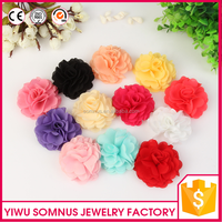 7CM Stock bulk colorful Puffy artificial chrysanthemum chiffon fabric hair flower