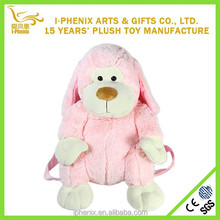 Children school bag pink dog toy lovely plush stuffed toy dog bag