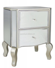 Antique silver Beside Table,/2 door mirrored chest