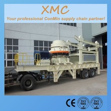 4 feet cone hydraulic or spring cone mobile crusher vibrating screen used in construction waste material