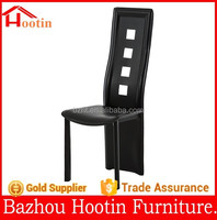 2015 new design kitchen furniture dining chair with leather back and seat and metal legs long back
