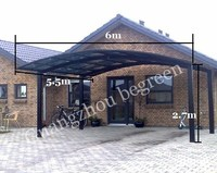 Outdoor used mental double carports for sale, aluminum frame villa car cover, garage carport designs