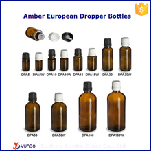 High Quality Amber European Dropper Glass Nicotine Liquid Bottles with Temper Evident Seal