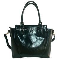Aliexpress hot sale black pu shopping tote bag for women wholesale handbag china