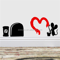 ZOOYOO red heart black rat wall decorations removable wallpapers handmade interior house paintings (388)