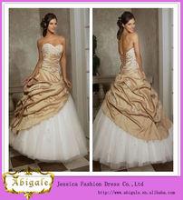 bola vestido de novia sin mangas con apliques la longitud del piso de la boda vestido de oro con listones( hs186)