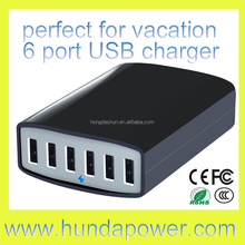 input 90v-250v 50/60hz 6-port 60w 5v 12 amp AC wall power adapter 60w travel charger multi usb home charger with best smart IC