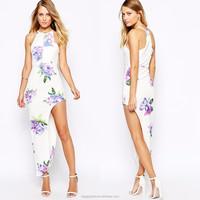 Wholesale plus size maxi dress 100% Polyester halter neck thigh split bodycon fit floral print 2015 summer women maxi dress