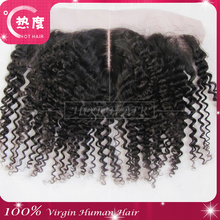 mongolian kinky curly closure frontal lace closure 13*4 natural color density 120%
