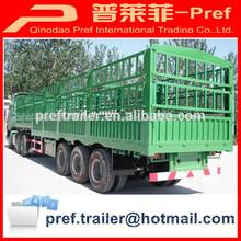 Tri- eje de gran caja de carga semi remolque/dos de almacenamiento de ganado remolque para transporte de ganado