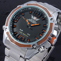 Japan movement watch with digital movement and stainless steel band cool men watches