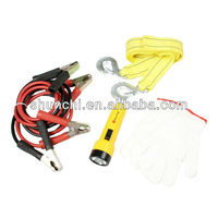 Towing Belt Rope Jumper Cable Torch Glove Car Road Emergency Kit