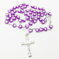 fashion 2015 beads necklace ,colorful heart beads rosary necklace