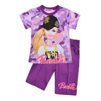 Retail 2014 Summer New sports T-shirt girl shorts suit cotton children clothes Kids T-shirts+pants kids Short sleeve sets