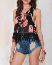 sexy hot for Girl top, black floral print semisheer chiffon crochet top with tie closure at left strap - SYK15142