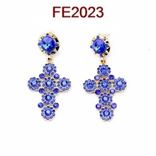 high quality accessories 2014 wholesale rhinestone women fashion cross earrings designs