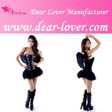 venta al por mayor 2014 señoras sexy baratos de ángel negro corsé de disfraces