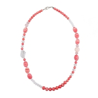 Popular Natural Hot Pink Stone Necklace
