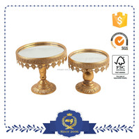Antique round gold metal serving trays for wedding