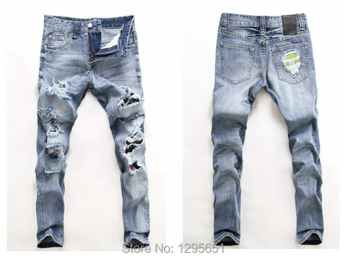 Wholesale-Light Blue Men Ripped Jeans Casual Cotton Straight Jeans ...