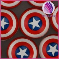 Wholesale fashion flat round glass cabochon with Captian American logo picture