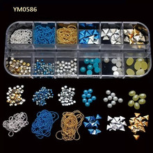 Yimart Box Packing 3D Metal Nail Art Decorations,Pearl Nail Decoration YM0586