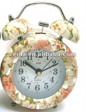 quartz alarm clock flower leaf twin double bell desk clock