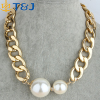 <<<Vintage Gold Chunky Chain Two Big Pear Pendant Choker Necklaces Women Jewelry 2015 Fashion Gift Wholesale/