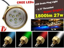 Super-bright 1800lm 27w Plug Light LED Underwater light perfect for fishing, diving, cruising & dock parties