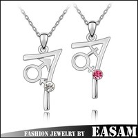 Korea fashion jewelry Valentine's day gifts couple crystal pendant necklace