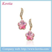 Fahion jewelry 2015 gold filled long chain stud earrings rose flower pendant earring with pink crystal
