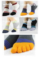 Wholesale Men Stripe Low Cut Socks Boat Five Finger Toe Cotton Anti Odor Sports New moq 20Pairs