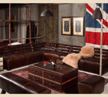 Square Corner Sectional Vintage Leather Sofa