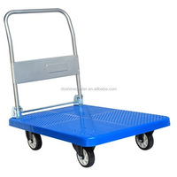 Foldable plastic platform hand truck and cart trolley