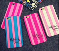 3D Cartoon Victoria's Secret Case Cover For iPhone6, For iPhone 6 Plus Pink White Stripe Soft Case, For iPhone 6 Pink Silicone