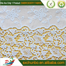 Beautiful white pierced flower 100%cotton voile embroidery fabric with special design for garment
