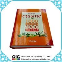 hard cover custom design printed cooking book