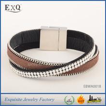 Best Sellings High Quality Double Rows Bling Rhinestone Wrap Cheap Slake Bracelet