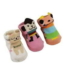 GSB-06 2015 Hot sell quality cotton 3D baby animal socks with fold over welt