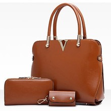 E1059 wholesale high end fashion handbag 3 in1 pu ladies handbags