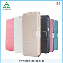 Folio Silk PU leather case for samsung S6 Silk Stand Leather case