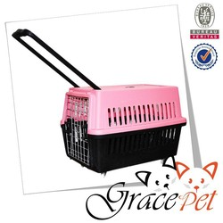 Plastic Pet Traveller Box dog Transport Carrier with wheels