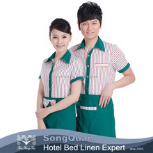 2015 hot sell vintage restaurant waiter and waitress uniform