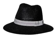 Black color raffia straw summer fedora hats