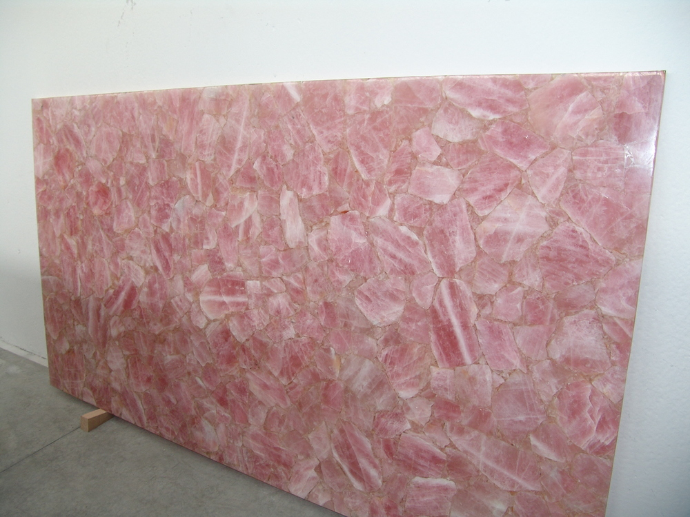 Natural Gemstone Pink Quartz Artificial Marble Table Top ...