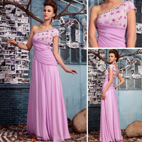 Factory price new model one shoulder sexy chiffon evening dress