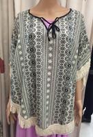 Vintage Floral Print Tassel Kimono Bat sleeve Cardigan Shirts Blouse Shawl Tops