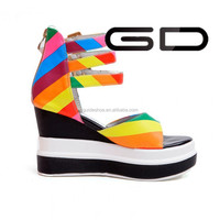 Large size real lether genuine women wedge sandal shoes