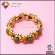 2015 fashion jewelry green acrylic beads bracelet, gold jewelry