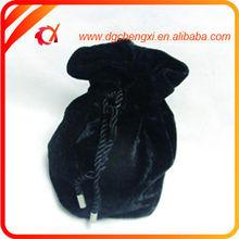 2015 New product black velvet wine bag with drawstring